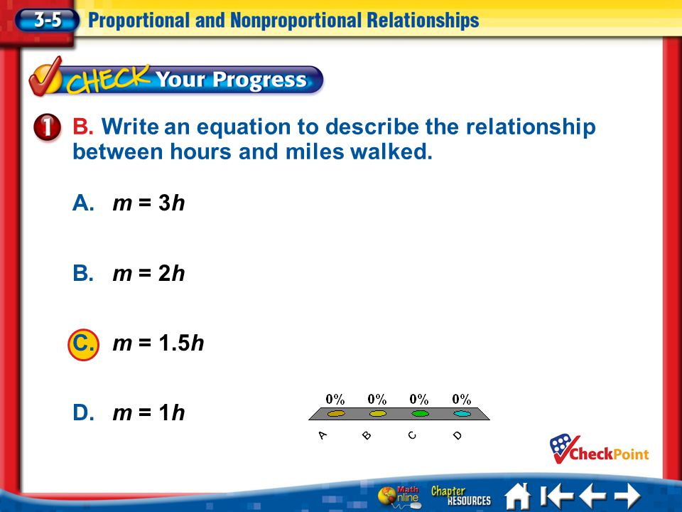 B. Write an equation to describe the relationship between hours and miles walked.