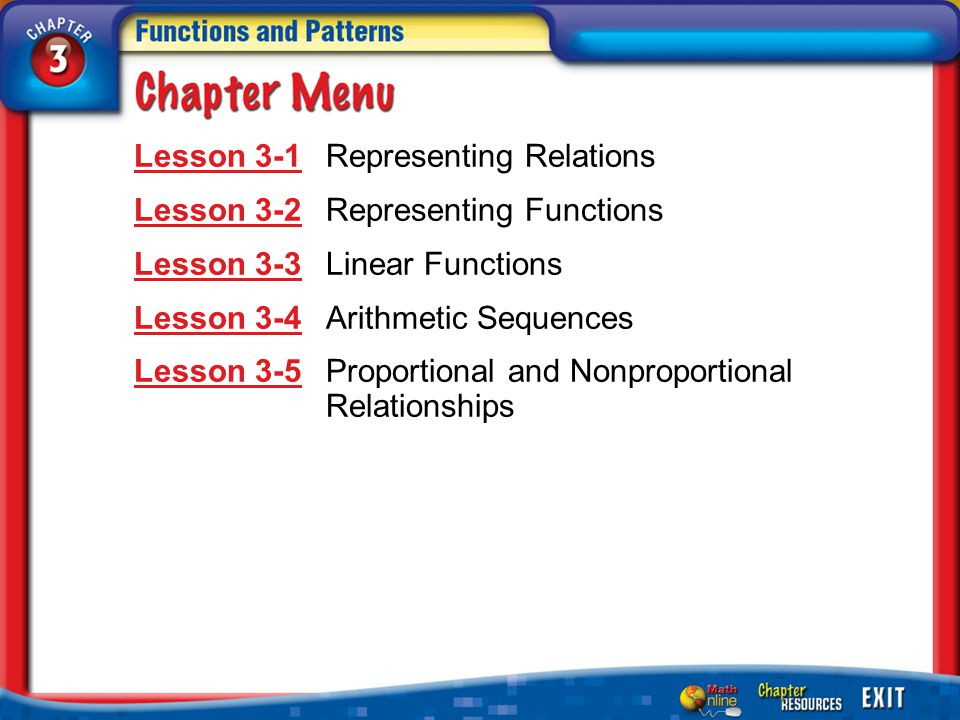 Lesson 3-1 Representing Relations Lesson 3-2 Representing Functions