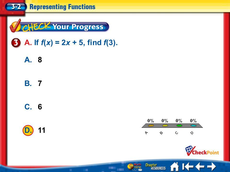 A. If f(x) = 2x + 5, find f(3). A A. 8 B B. 7 C C. 6 D D. 11