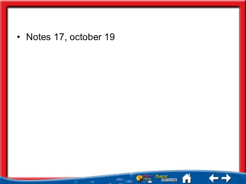 Notes 17, october 19