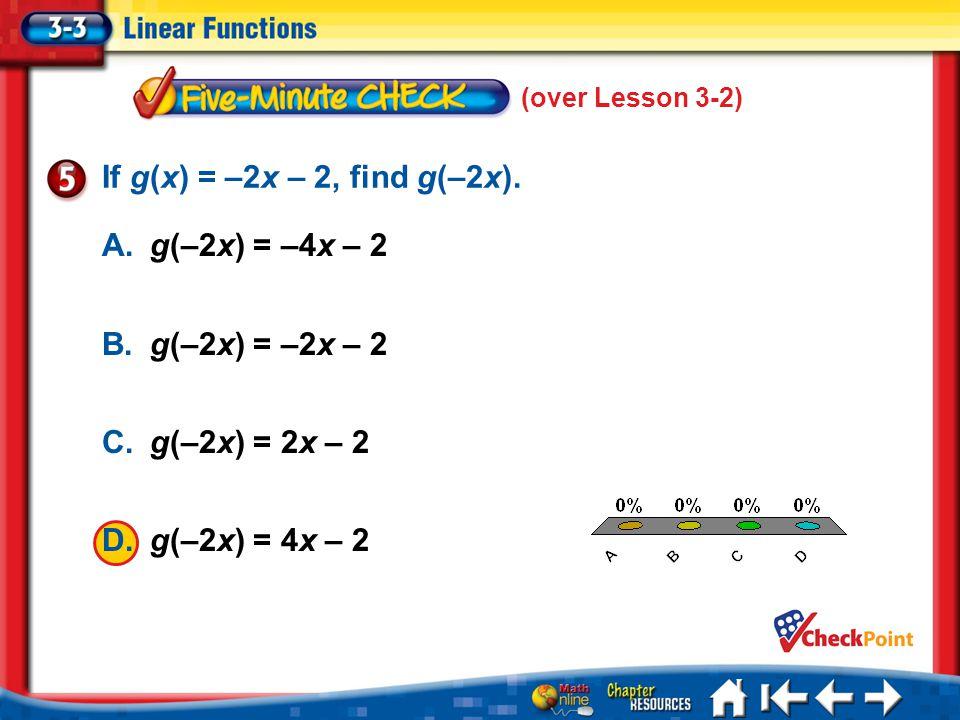 If g(x) = –2x – 2, find g(–2x). A. g(–2x) = –4x – 2 A