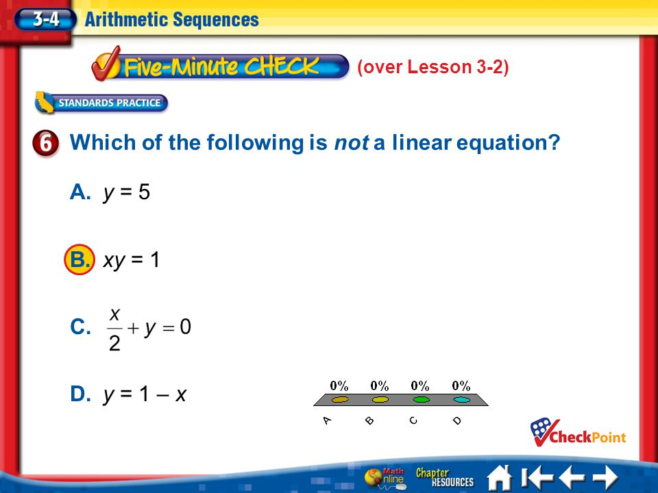 Which of the following is not a linear equation