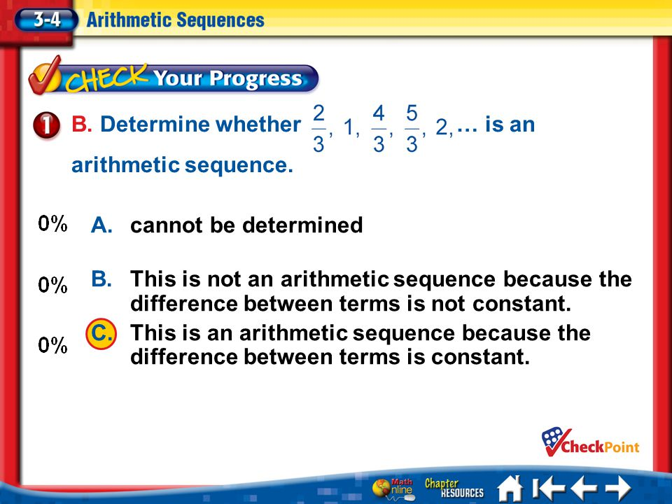 B. Determine whether … is an arithmetic sequence.