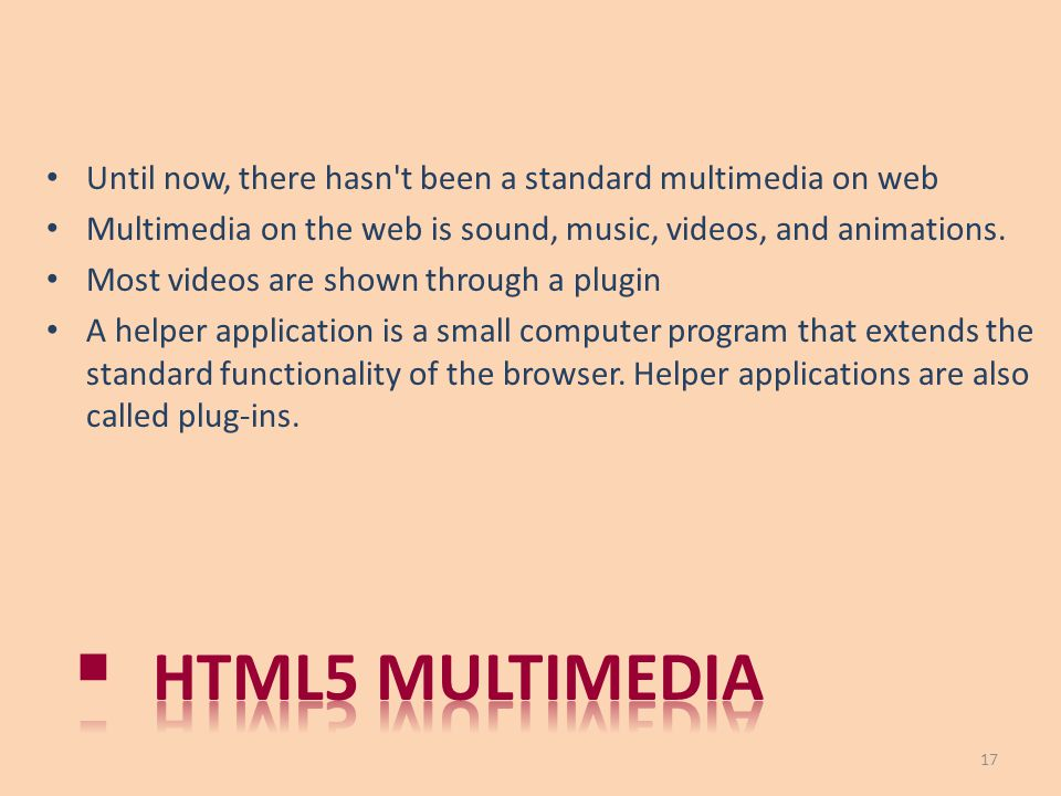 Until now, there hasn t been a standard multimedia on web