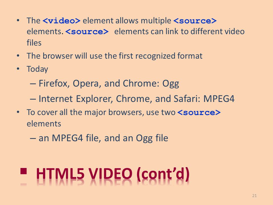 Html5 video (cont'd) Firefox, Opera, and Chrome: Ogg