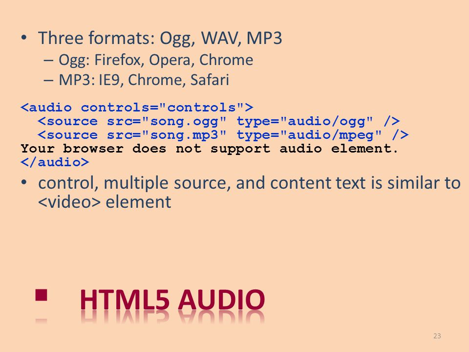 Html5 audio Three formats: Ogg, WAV, MP3