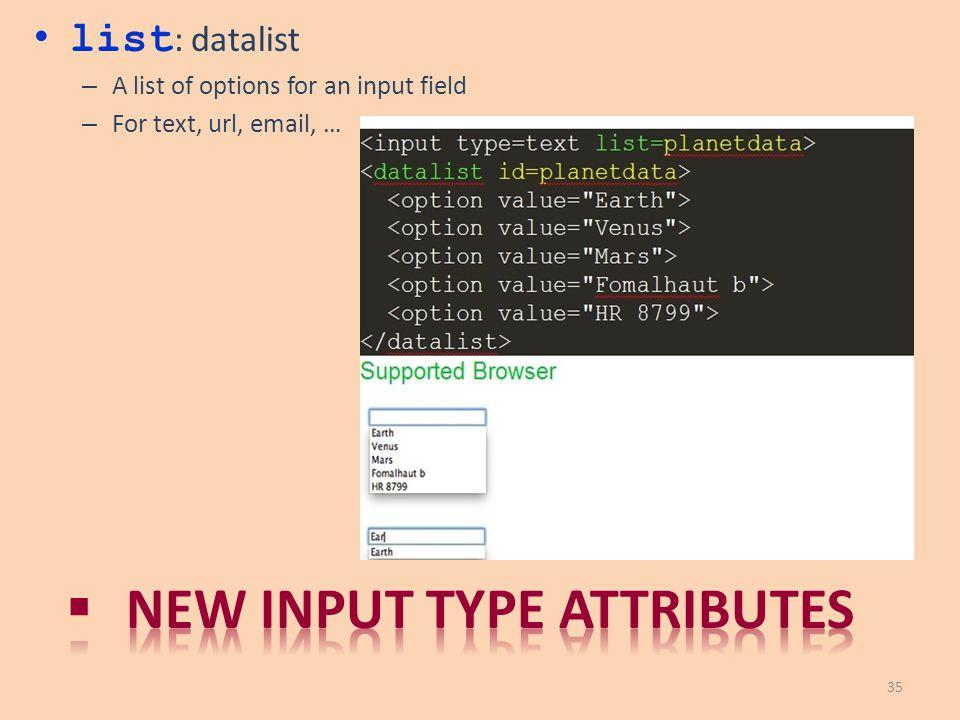 New input type attributes