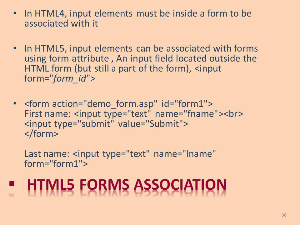 Html5 forms association