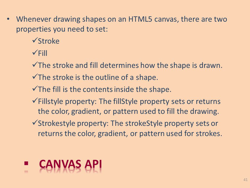 Whenever drawing shapes on an HTML5 canvas, there are two properties you need to set: