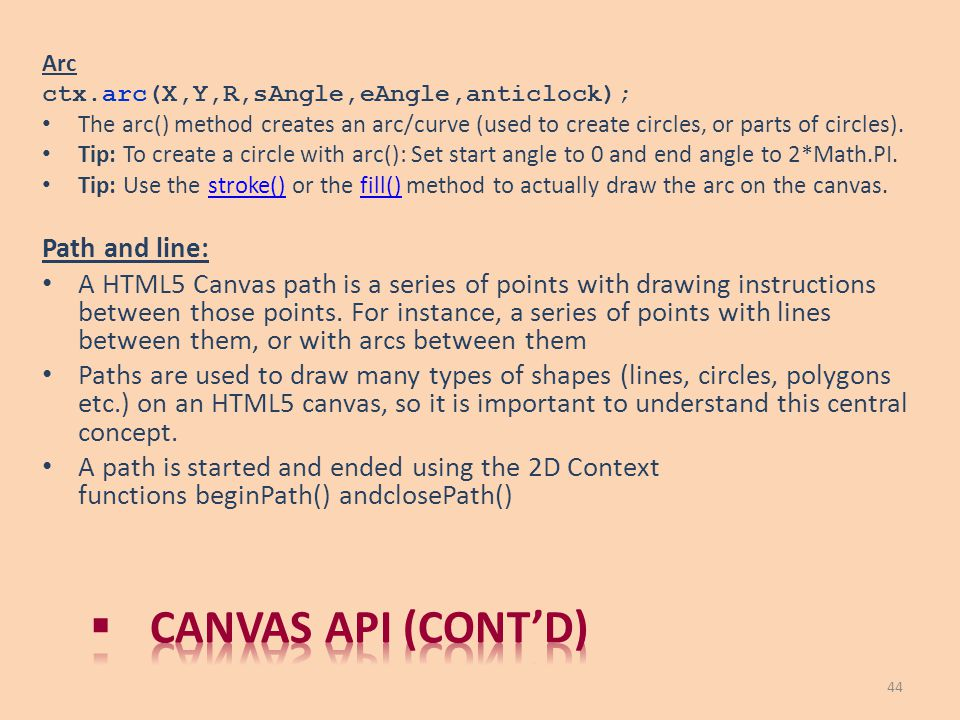 Canvas API (cont'd) Path and line:
