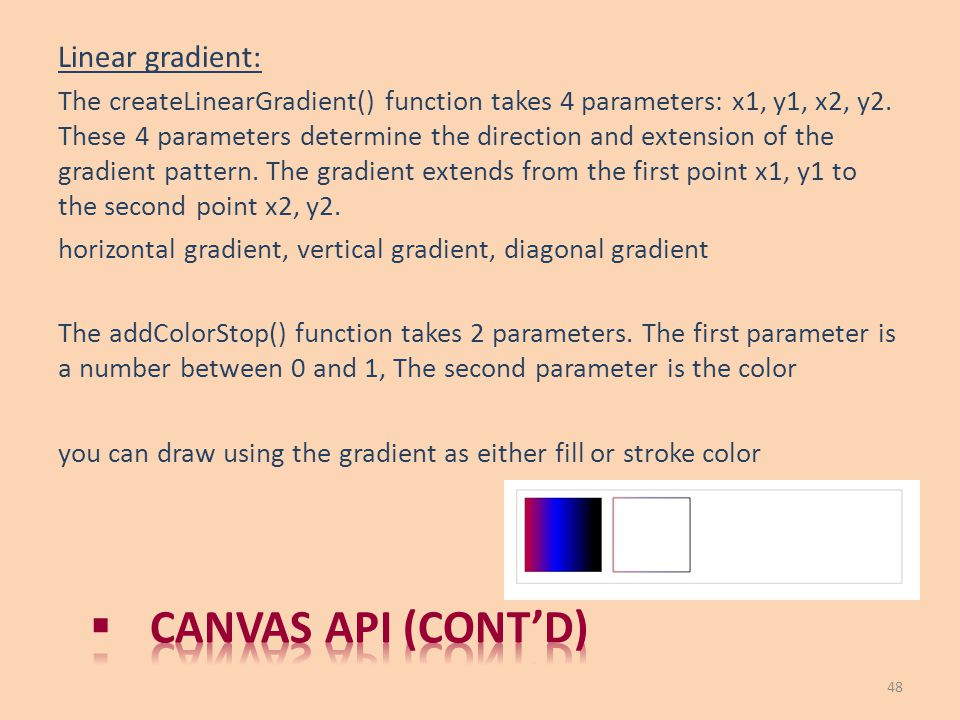 Canvas API (cont'd) Linear gradient: