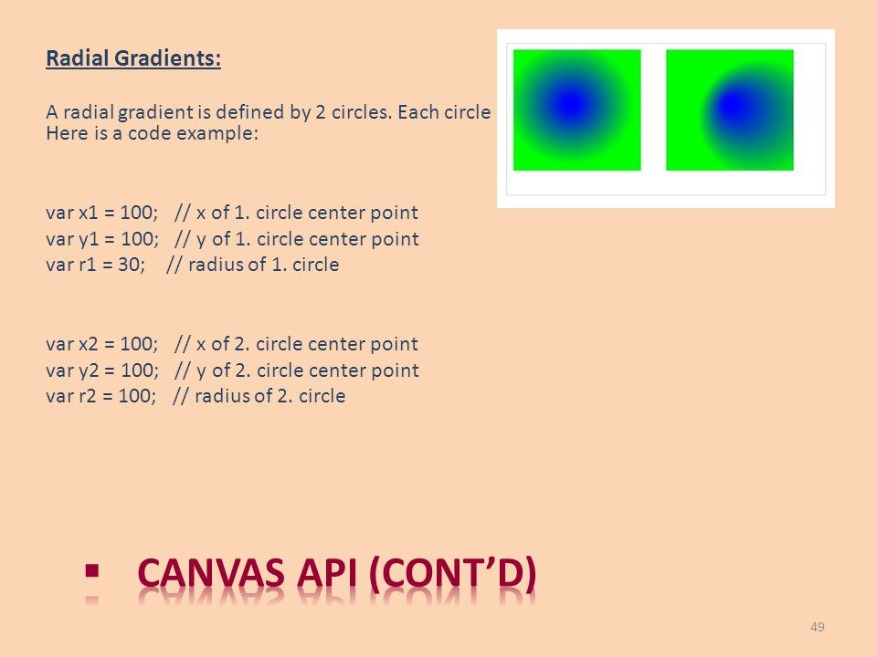 Canvas API (cont'd) Radial Gradients: