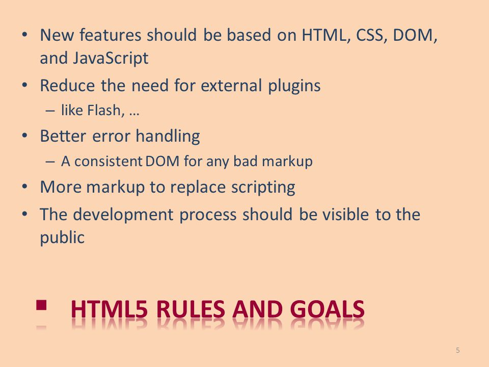 New features should be based on HTML, CSS, DOM, and JavaScript