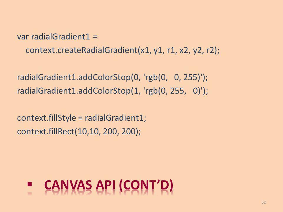 Canvas API (cont'd) var radialGradient1 =
