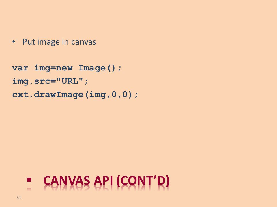 Canvas API (cont'd) Put image in canvas var img=new Image();