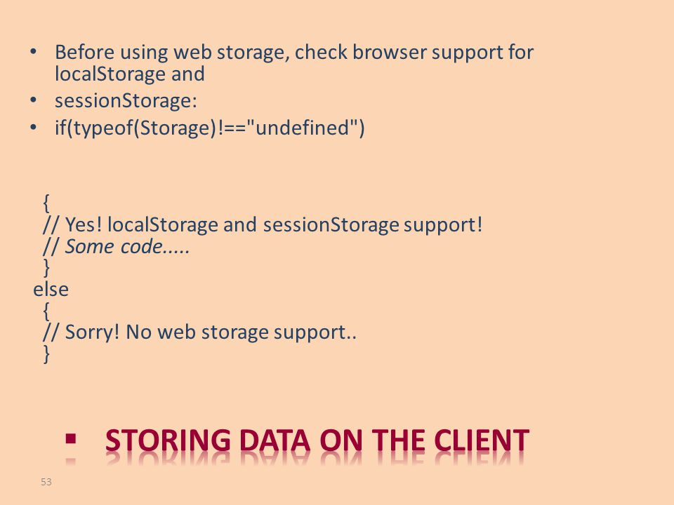 Storing data on the client