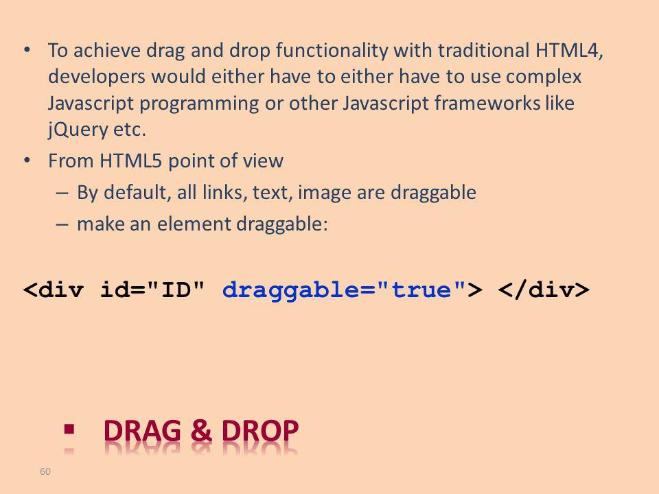 Drag & drop <div id= ID draggable= true > </div>