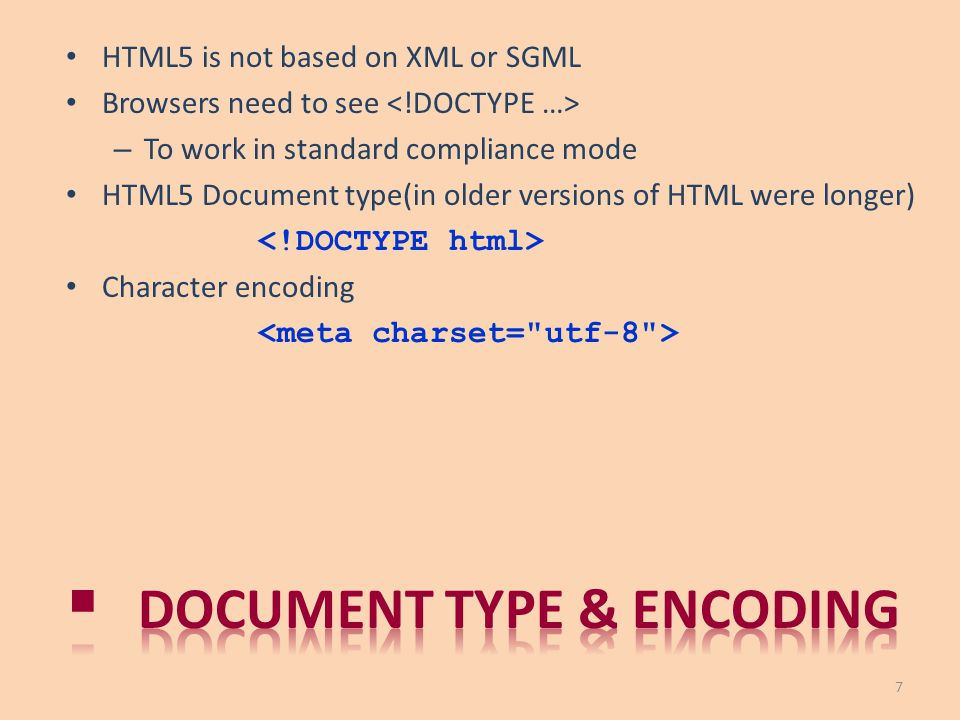 Document type & encoding