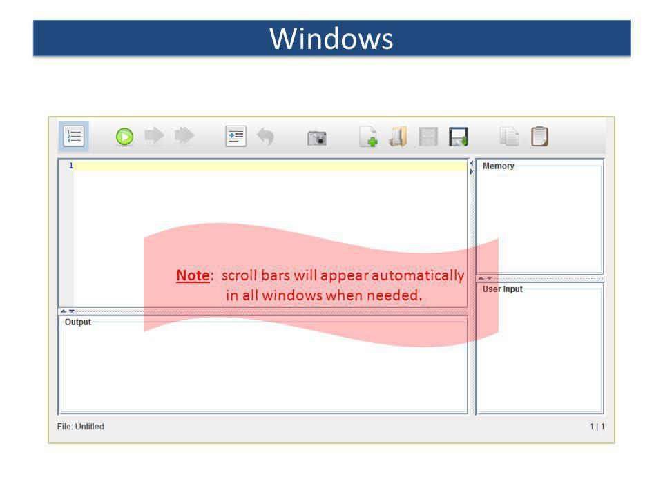 Windows Note: scroll bars will appear automatically