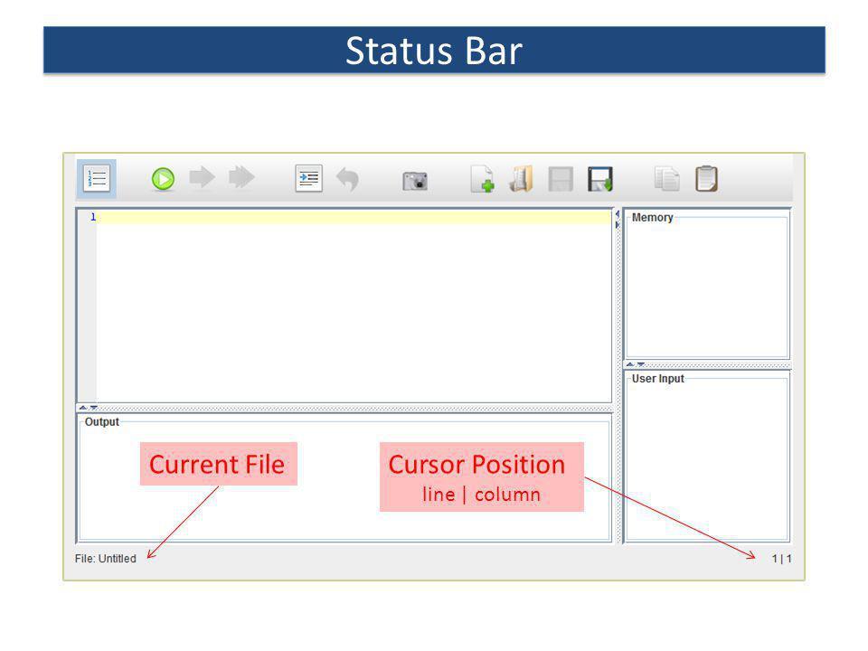 Status Bar Current File Cursor Position line | column