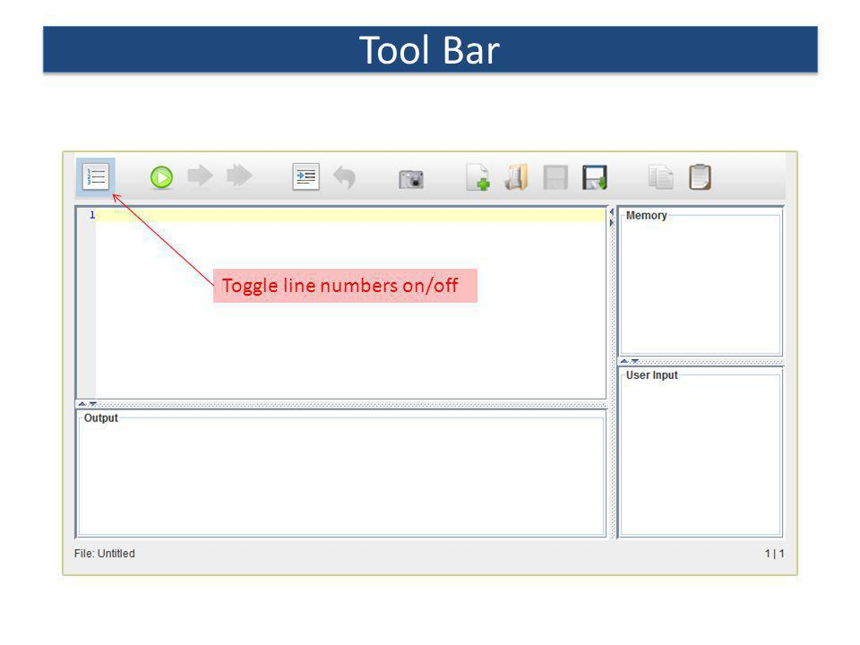 Tool Bar Toggle line numbers on/off