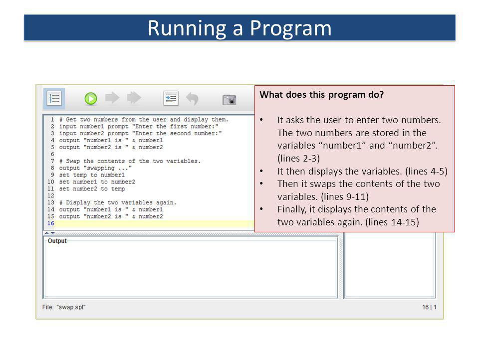 Running a Program What does this program do