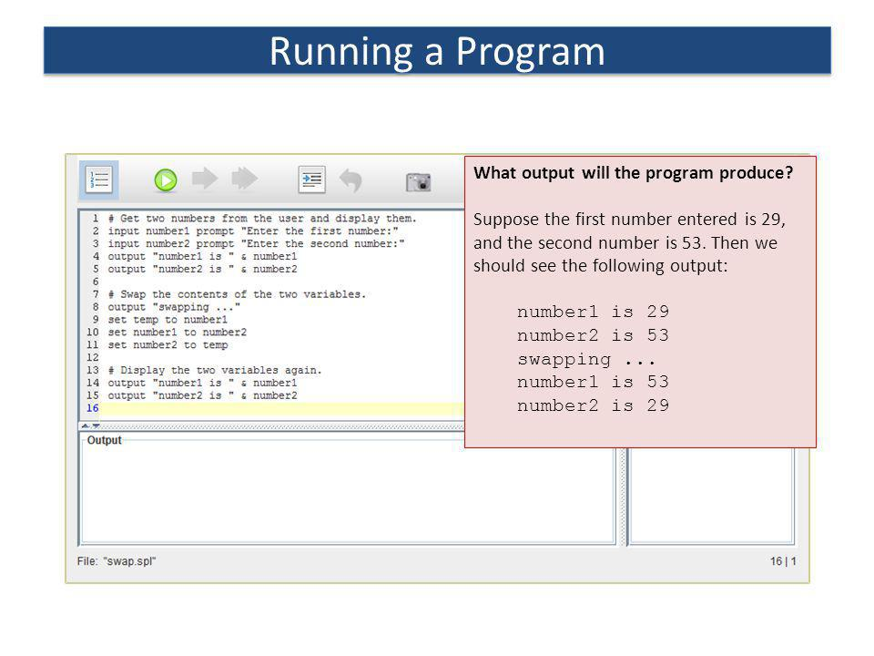 Running a Program What output will the program produce