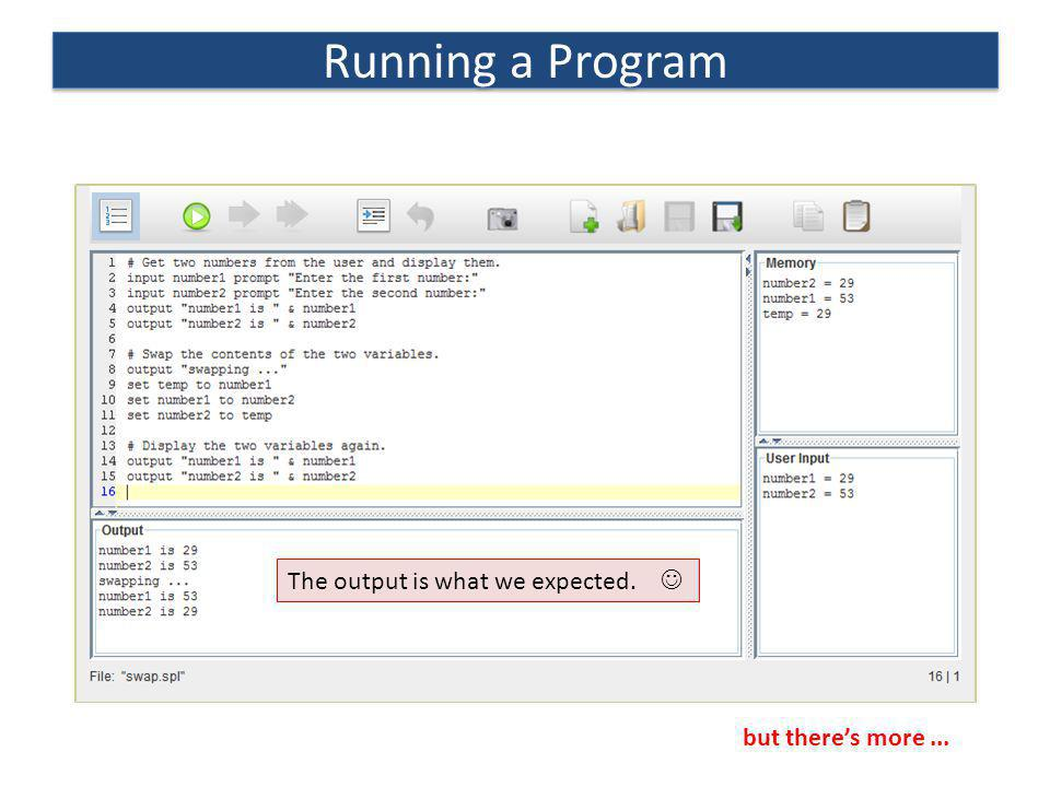 Running a Program The output is what we expected. 