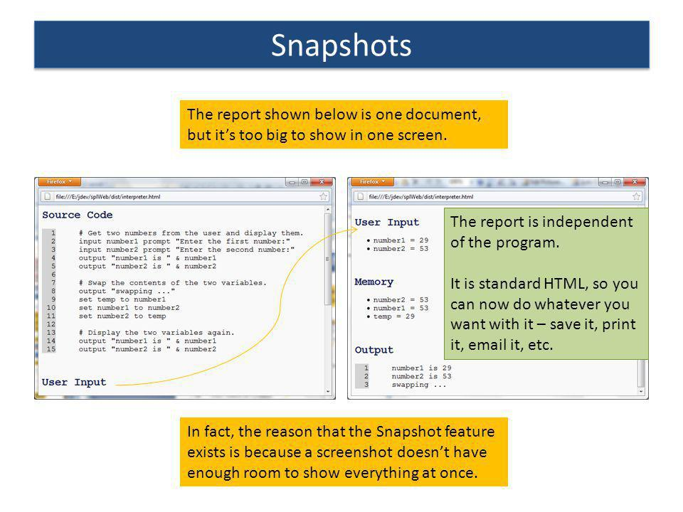 Snapshots The report shown below is one document, but it's too big to show in one screen. The report is independent of the program.