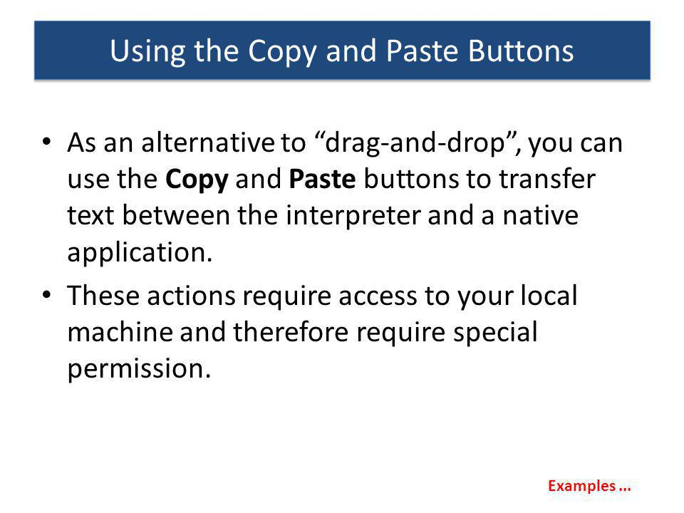 Using the Copy and Paste Buttons
