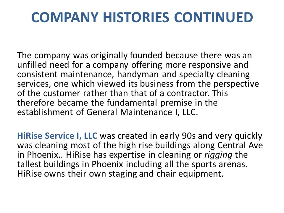 COMPANY HISTORIES CONTINUED