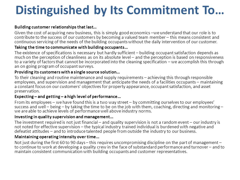 Distinguished by Its Commitment To…