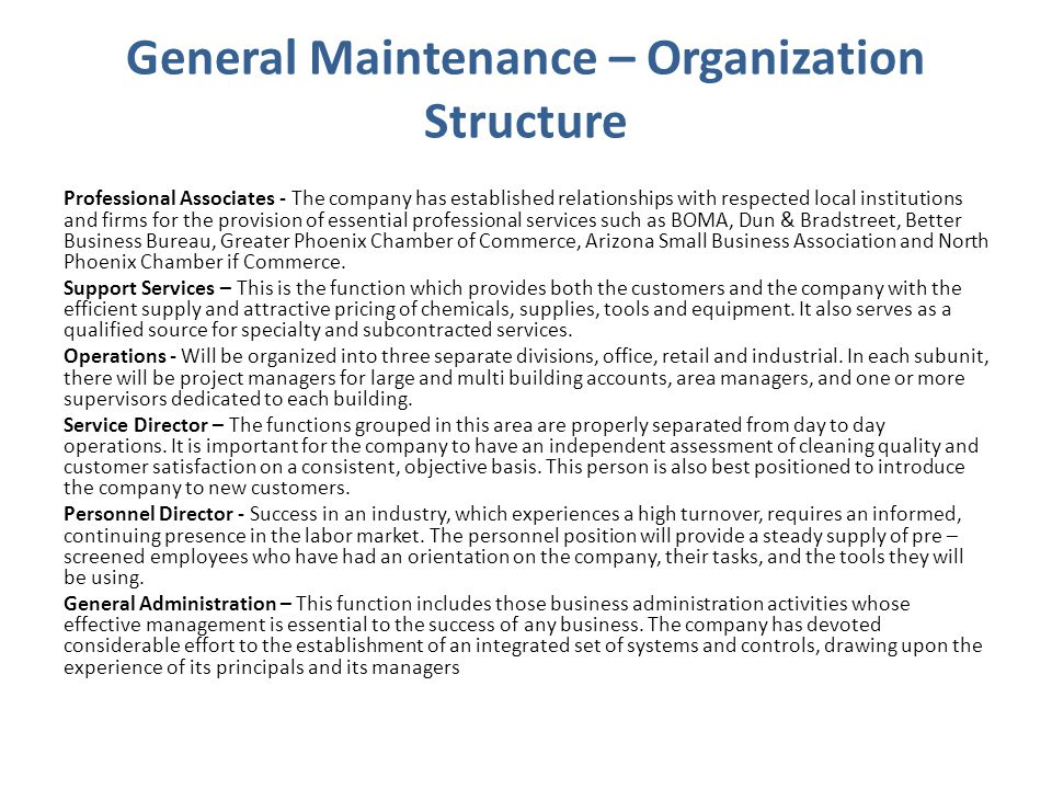General Maintenance – Organization Structure