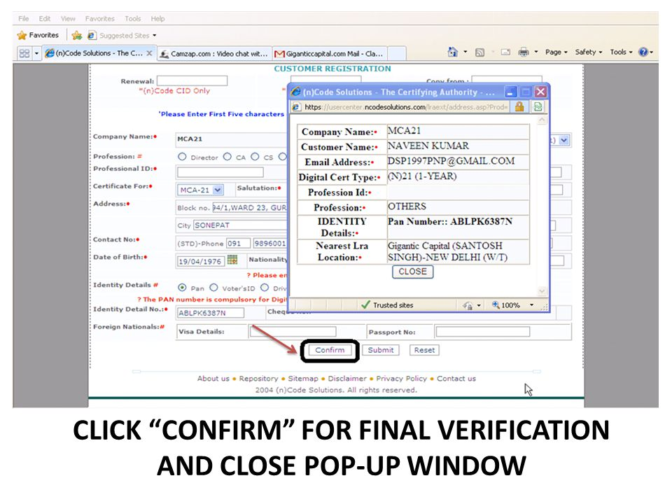 CLICK CONFIRM FOR FINAL VERIFICATION AND CLOSE POP-UP WINDOW