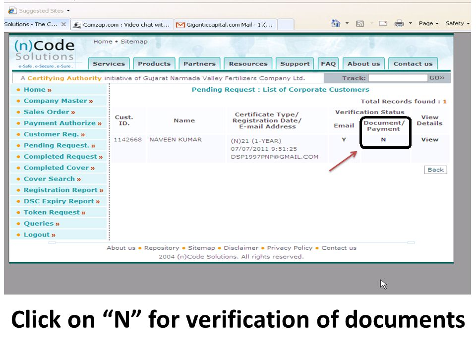 Click on N for verification of documents