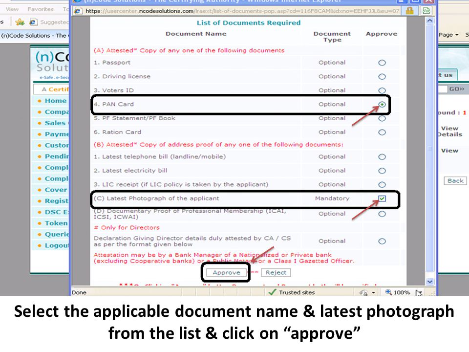 Select the applicable document name & latest photograph from the list & click on approve