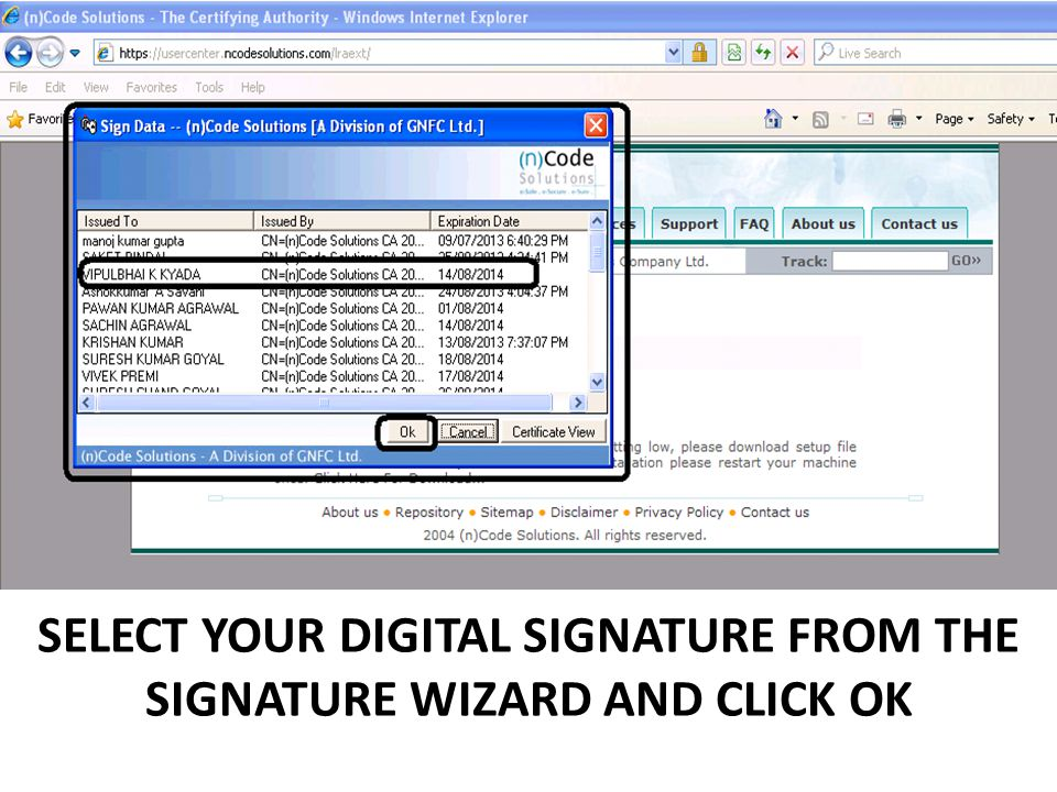 SELECT YOUR DIGITAL SIGNATURE FROM THE SIGNATURE WIZARD AND CLICK OK