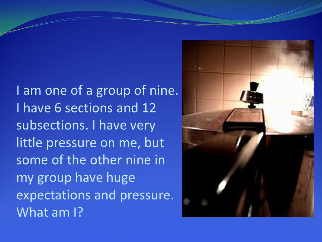 I am one of a group of nine. I have 6 sections and 12 subsections