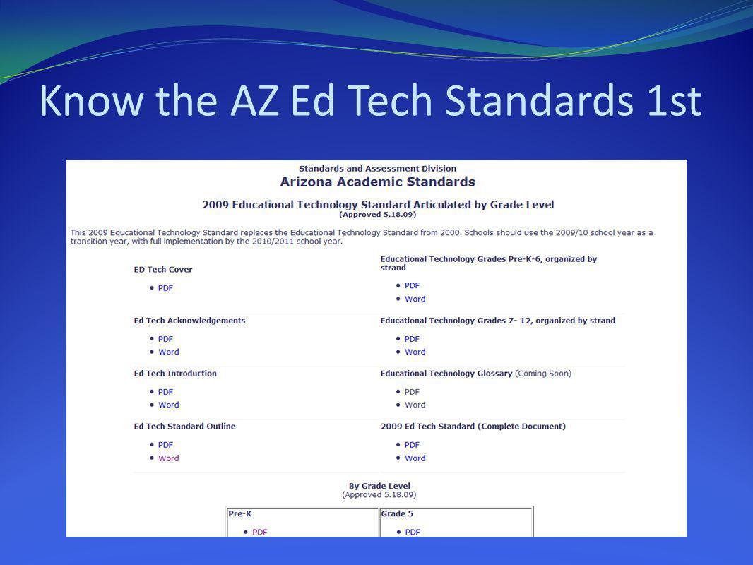 Know the AZ Ed Tech Standards 1st
