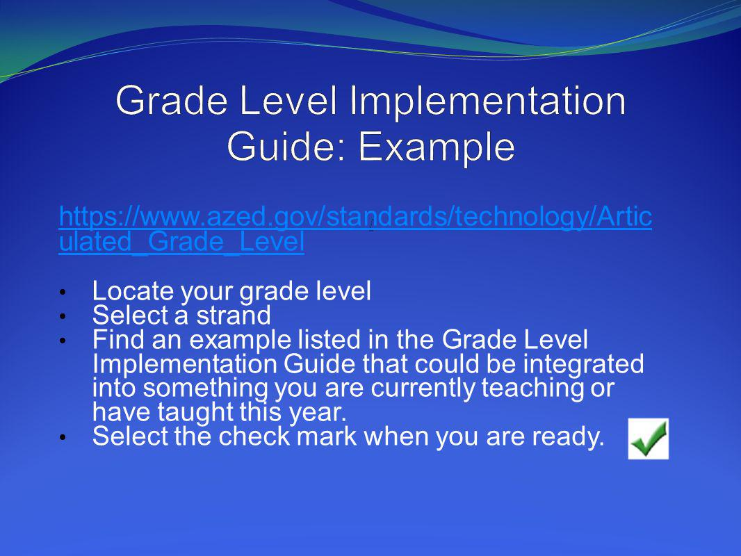 Grade Level Implementation Guide: Example /