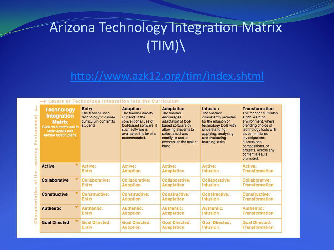 Arizona Technology Integration Matrix (TIM)\ http://www. azk12