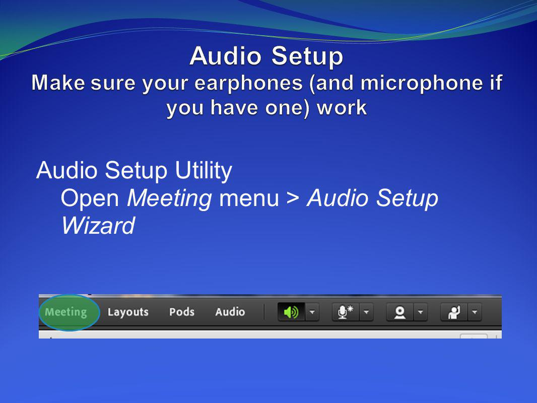 Audio Setup Make sure your earphones (and microphone if you have one) work