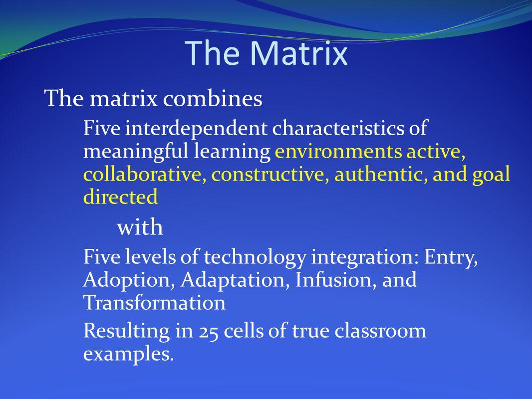 The Matrix The matrix combines with
