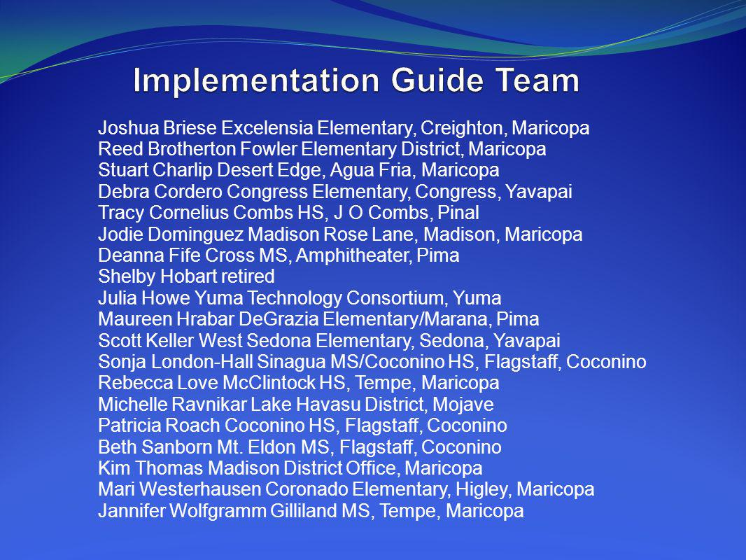 Implementation Guide Team