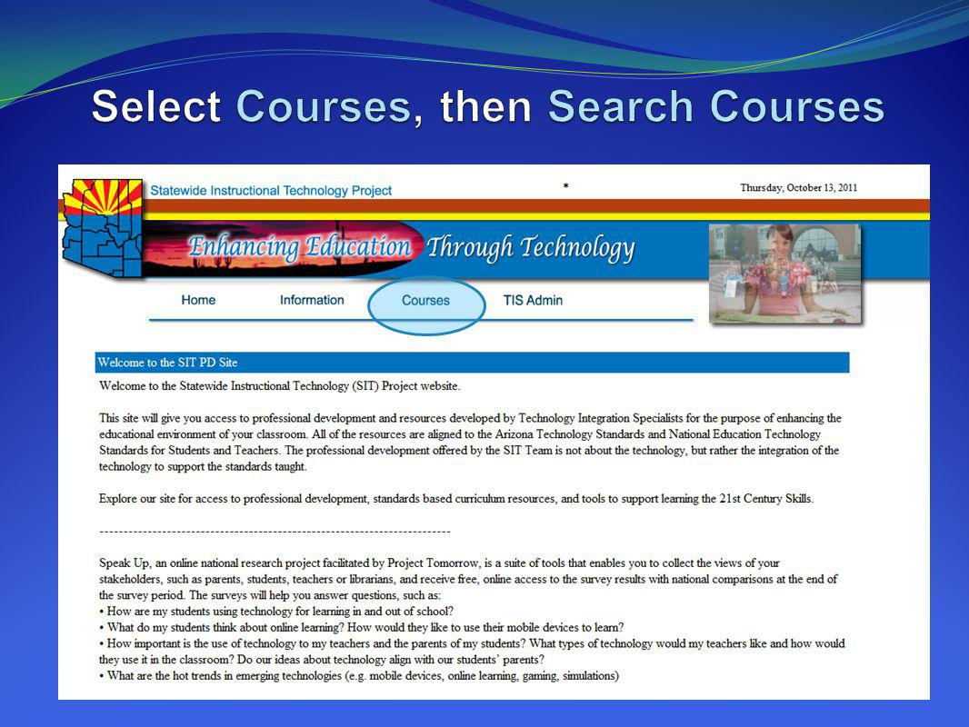 Select Courses, then Search Courses
