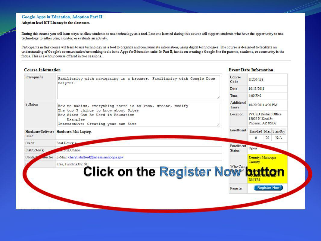 Click on the Register Now button
