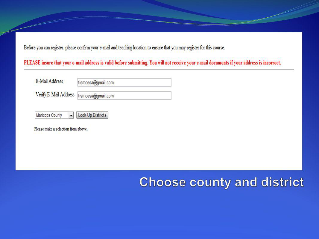 Choose county and district