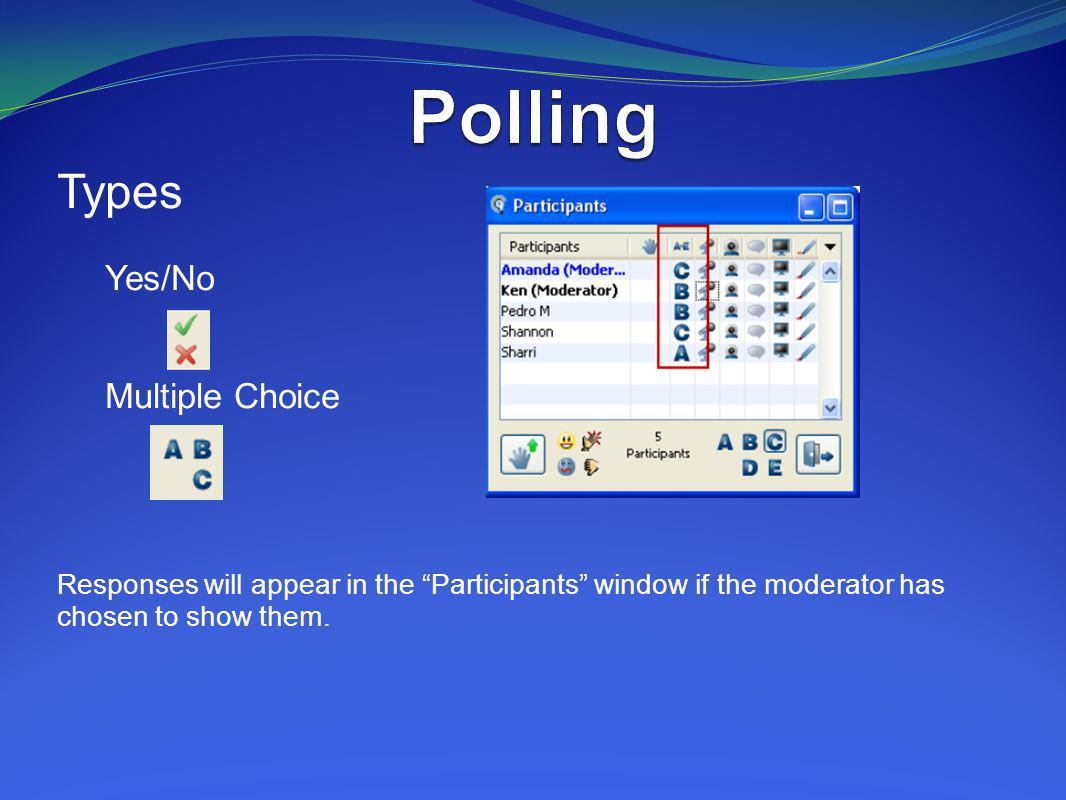 Polling Types Yes/No Multiple Choice