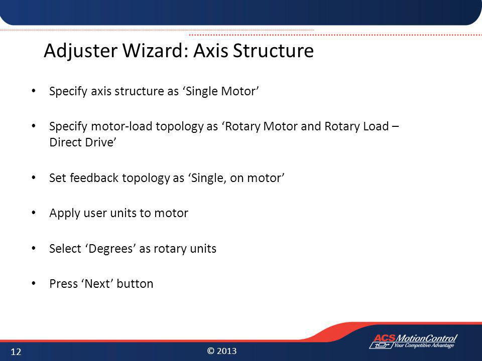 Adjuster Wizard: Axis Structure