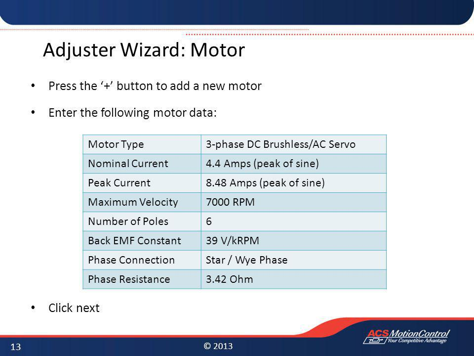 Adjuster Wizard: Motor